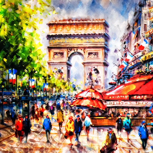 arc de triomphe in Paris painting